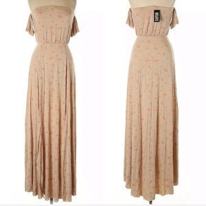 Clayton Maxi Dress Large Off Shoulder Hearts Nude